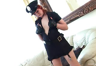 Sexy police bureaucrat touches herself and fucks herself with sex toys
