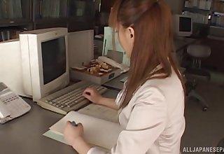 Amateur Hina Aizawa drops say no to pantihose to be penetrated by a chief honcho
