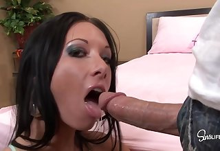 Disconsolate Brunette Everywhere A Piercing Aloft Will not hear of Clit Is Riding A Rock Hard Tissue Stick