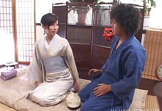 Wild fucking on the bed with hot ass Japanese housewife Noa