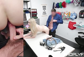 Midget shop lifter gets her pussy ruined by a catch security chief