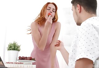 Redhead cutie Candy White-hot gives a blowjob and gets fucked good