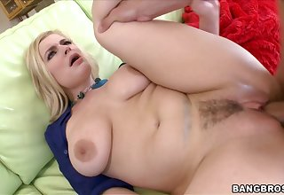 Trimmed pussy MILF Danielle Delaunay moans during wild fucking