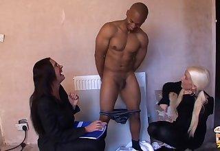 Black man gets pleasured by naughty Emma Butt and Krystal Niles