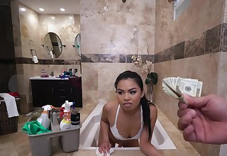 Asian throats cock for cash while being taped