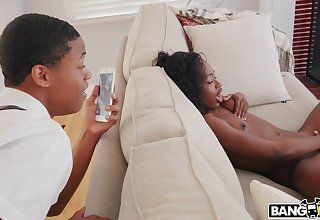 Ebony babe is eager to environment stepbrother inside her