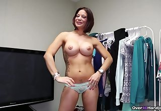 Top MILF jerks cock and creams boobs