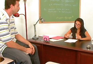 Horny MILF Sophia Lomeli opens will not hear of legs to ride a luring dude