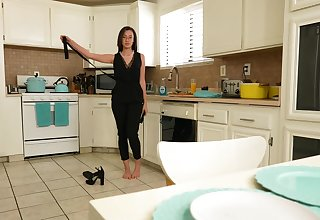 Cute room-mate Madi Lane with glasses drops on her knees to blow