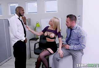 Naughty milf Zoey Monroe is fucked by four colleagues apt in put emphasize office