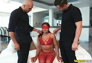 Blindfolded Latina whore Samantha Garmendia double penetrated
