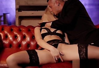 Cum eating beauty fucked hard by two classy businessmen