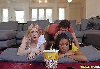 During the movie Anastasia Knight becomes horny and ready for a threesome