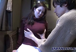 Japanese chunky chick Mina Sasaki shows her creampied Asian muff