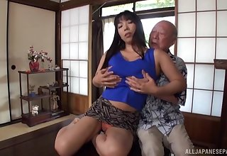 Older beggar feed his sexy friend in all directions his hard penis on the couch