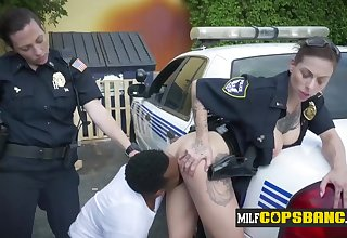 Breasty tattoed Female Cops get drilled