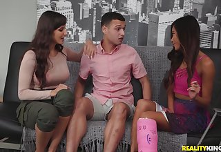 After she prepares her cunt Lexi Luna is ready for a threesome