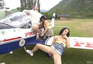 Flight school instructor shags two girls Vanessa Mae and Lady Mai
