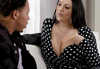 Black stepson can't resist fucking shocking heavy white boobs of Angela White