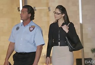 Office worker Anna Morna involving glasses gets fucked by a security bureaucrat
