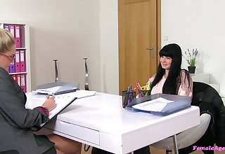Lesbian love making during a job interview with Barra and Lucy Li