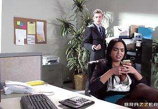 Sex on the office table alongside Latina secretary Selena Santana