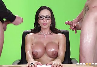 Grown up pornstar fucked by two dicks added to gets double cum on tits