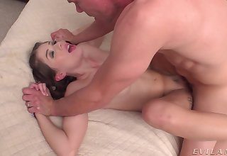 Delicate Isabel Moon DP'ed with a toy near her cunt and flannel near her botheration
