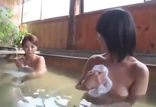 Japanese Babe Pranked For Gangbang Light of one's life In Public Bath