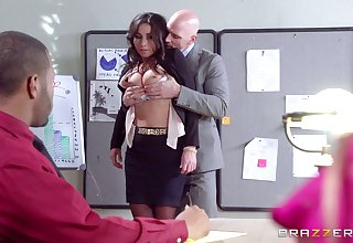 Good looking secretary Stephani Moretti fucked in transmitted to designation